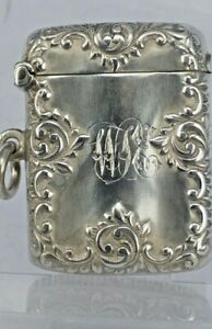 1900 Art Nouveau elaborate vesta case with side ring for pocket watch chain