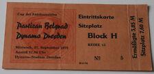 Ticket old EC Dynamo Dresden Partizan Beograd 1978 DDR East Germany Serbia