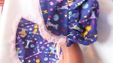 Adult Baby Sissy Bonnet and Bib Set Purple Ponys