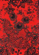 Decopatch Decoupage Paper - Black, Red - Oriental Floral Lace Pattern #436 3PK