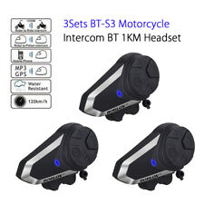 3 Packs BT-S3 Motorcycle Intercom 1000M Helmet MP3 FM Stereo Radio Wireless