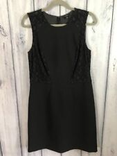 Ann Taylor Womens Dress Size 8 Sleeveless Lace Overlay Black Stretchy