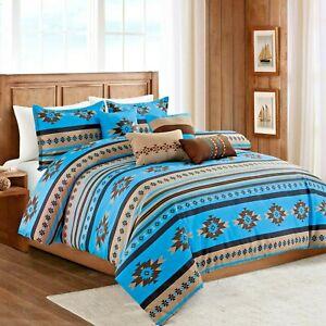 Southwestern Aztec Tribal Tan Turquoise Cabin Comforter Set - 7 Piece Set