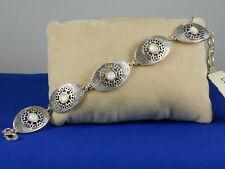 Lucky Brand Silvertone Openwork Flower MOP Oval Flex Bracelet JWEL1975 $39