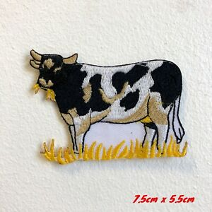 Cute Cow Animal Cartoon Kids Embroidered Iron Sew on Patch #1782