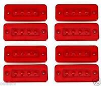 8x 12v Marcador Lateral Trasero Rojo 4 LEDS LUCES Chasis de Remolque