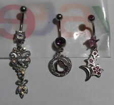 Lot of 3 Belly Button Ring Dangle Navel Set Piercing Body Jewelry Hearts Moon