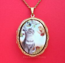 CATS Porcelain GRAY CAT & SQUIRREL CAMEO Locket Pendant Necklace Birthday Gift