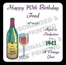 PERSONALISED ANY AGE & DATE WINE COASTER 30 40 50 60 70 80 90 100 BIRTHDAY GIFT