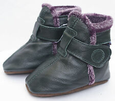 carozoo booties dark green 0-6m soft sole leather baby shoes