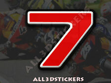 Pegatina Numero 7 3D Color Rojo Tamaño 25mm