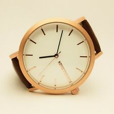 NEVIS THE 9TH - BRUSHED ROSE GOLD - SADDLE-BROWN LEATHER (B) - SIMPLE & ELEGANT