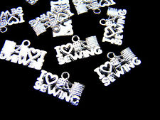 10 Pcs I Love Sewing - Bright Tibetan Silver Craft Charms Pendant Jewellery O144