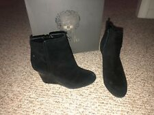 Vince Camuto Zandra Black Suede Leather Wedge Boots Booties Shoes Womens 6.5 M