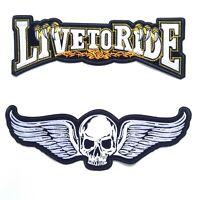 2PCs Live To Ride + Flying Skull Harley Davidson Biker Iron On Vest Jacket Patch