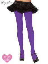 Leg Avenue PURPLE PANTYHOSE costume tights stockings 60s 80s tall Plus Size 7666