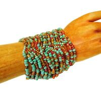 Wide Turquoise Coral Multi Strand Handmade Cleo Stretch Seed Bead Cuff Bracelet