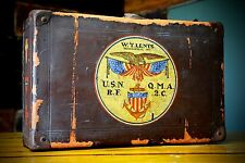 1918 US Navy Original WWI Hand Painted Military Suitcase Trunk Aviation Vintage