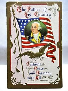 1910 PATRIOTIC POSTCARD FATHER OF HIS COUNTRY,GEORGE WASHINGTON ON FLAG