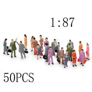 50Pcs Painted Model Train Passenger People Figures HO Scale 1:87 DIY #P01