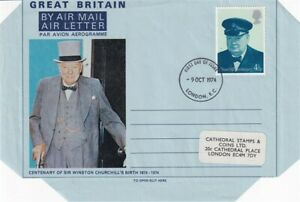 9 OCT 1974 WINSTON CHURCHILL CENTENARY AIR LETTER LONDON FDI