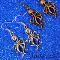 FUNKY OCTOPUS EARRINGS SCARY SEA CREATURE KITSCH NOVELTY ANIMAL FISH FANCY DRESS