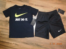 NIke boys cotton  T shirt and shorts outfit size 4 NWT Black/Volt