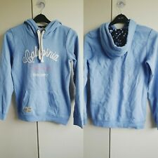 Ladies Blue Fleece lined Hooded Jumper Sweater Cozy Comfy Size 8 Top Cardigan
