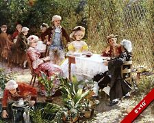 FRENCH PICNIC PARTY IN THE SHADY ARBOUR 1700'S PAINTING ART REAL CANVAS PRINT