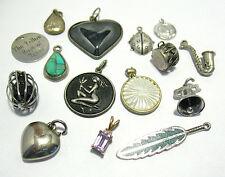 VINTAGE SILVER CHARM LOT MIXED THEMES 15 CHARMS 9/9-1