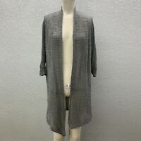 Eileen Fisher Knit Cardigan Sweater Womens M Heather Gray Open Front Long Sleeve