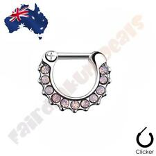 316L Surgical Steel Pink Paved Opalites Septum Ring Clicker