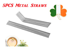 """10x Stainless Steel Straw Steel Drinking Straws 8.5""""Reusable ECO Metal Straight"""