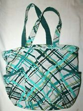Thirty One Littles Small Square Utility Tote Basket Blue Green Stripes Sea Plaid