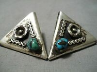EXCEPTIONAL VINTAGE HOPI BISBEE TURQUOISE STERLING SILVER COLLAR PINS OLD