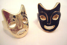 Pair of Gold Tone & Black Enamel Theatrical Mask Rings Sizes J and K