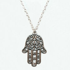 Hand Of Fatima Necklace Tibetan Silver Protection Hamsa Charm Boho Lucky Amulet