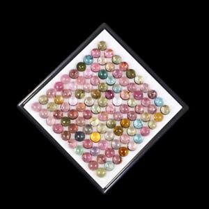 100 Pcs Natural Tourmaline 3.5mm Round Cabochon Multi Color Sparkling Gemstones