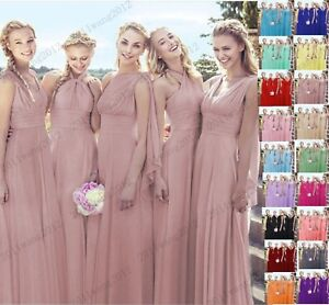 New  Multiple Way Style Pink Blue Green Sleeveless Bridesmaid Dresses Size 6-28