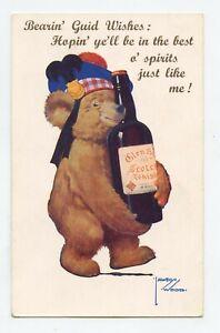 Lawson Wood. Bear Teddy. Bottle Of Whisky