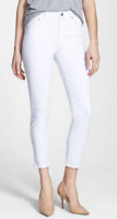 Citizens of Humanity Rocket Crop High Rise Skinny Jeans,Optic White,Size 28,$178