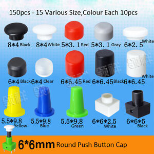 150pcs Push Button Round Cap for 6 x 6mm Momentary Miniature Micro Tact Switch