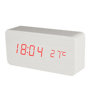BALDR B0929 Modern USB Wooden LED Table Alarm Clock with Temperature Display