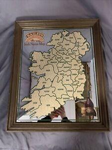 """Bailey's Original Irishcream 1977 Aer Lingus Bar Mirror """"Irish Name Map"""""""