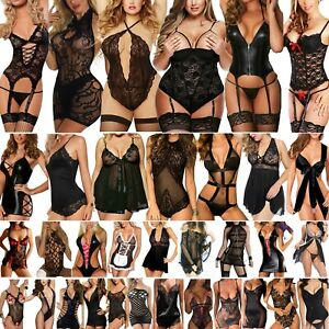 Women Sexy Lingerie Underwear Babydoll Bodysuit Sexy Sleepwear Black Nightwear