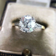 Oec Cushion Ring 2.56 Ct Near White Moissanite Engagement Solid 10k Yellow Gold