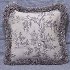 Pillow made w Ralph Lauren Saint Honore Gray Floral Fabric 12x12 trimmed fringe