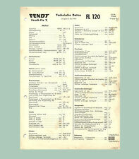 Fendt Fix 2  FL 120   Technisches Datenblatt  Original 1960