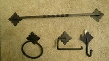 Southwestern Mexican Style Bathroom Iron Towel Bar, Toilet Paper Holder & Hook+