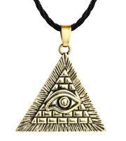 Collier Pendentif égypte Oeil d' Horus Pyramide, bronze doré.